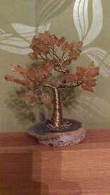 Vintage Amber and brass wire tree