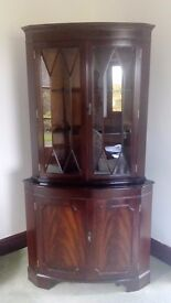 Wooden glass fronted corner cabinet