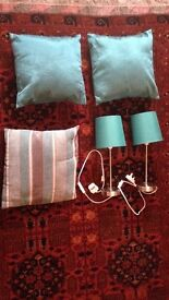 3 x Turquoise Cushions and 2 x Turquoise Lamps