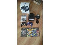 Boxed Nintendo Game cube with 3 games