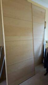 Ikea Pax sliding beech wardrobe doors and Pax wardrobe