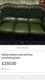 Green leather 3 seater sofa and 2 armchair vgc