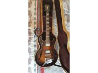 Huthcins Prince II semi hollow electric guitar with Bigsby tremelo and hard case
