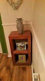 Solid wood cube style side display unit
