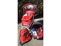Quinny Speedi Red Pram and Maxi Cosi car seat