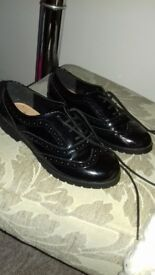 Size 2 Black Patent Leather Brogues from Next