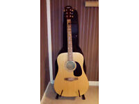 AN AVALANCHE SPANISH GUITAR,WITH GIG BAG AND GUITAR STAND-EX
