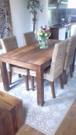 Dining Table 'Dakota' Mango Wood with 4 Rattan Dining Chairs