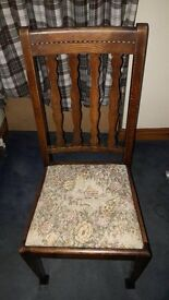 Antique oak gate leg table with pie crust edge & barley twist legs & four oak chairs good condition