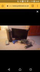 Xbox 360, small TV, controllers and such