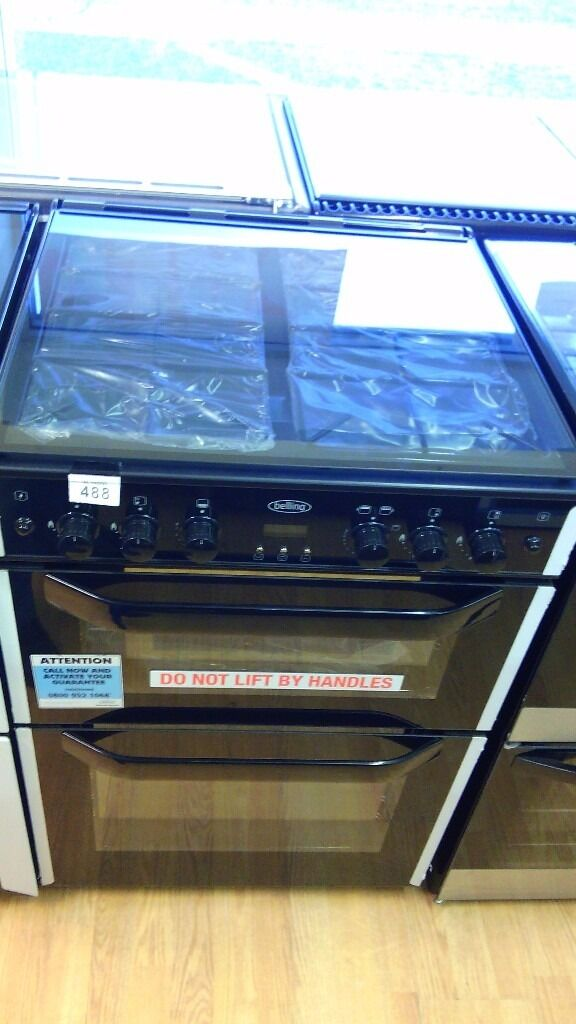 BELLING black 60cm dual fuel gas cooker new ex display