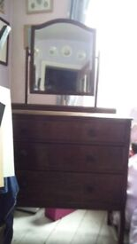 Arts and Crafts chest of drawers with mirror, solid oak, genuine antique