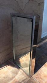 Mirrored Stainless Steel Corner Bathroom Unit