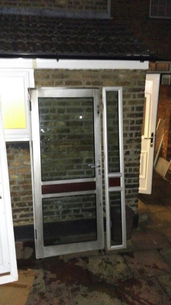 Silver Aluminium Double Glazed Door - VGC - CAN DELIVER