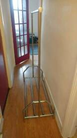 Chrome plated clothes rail with shoe rack