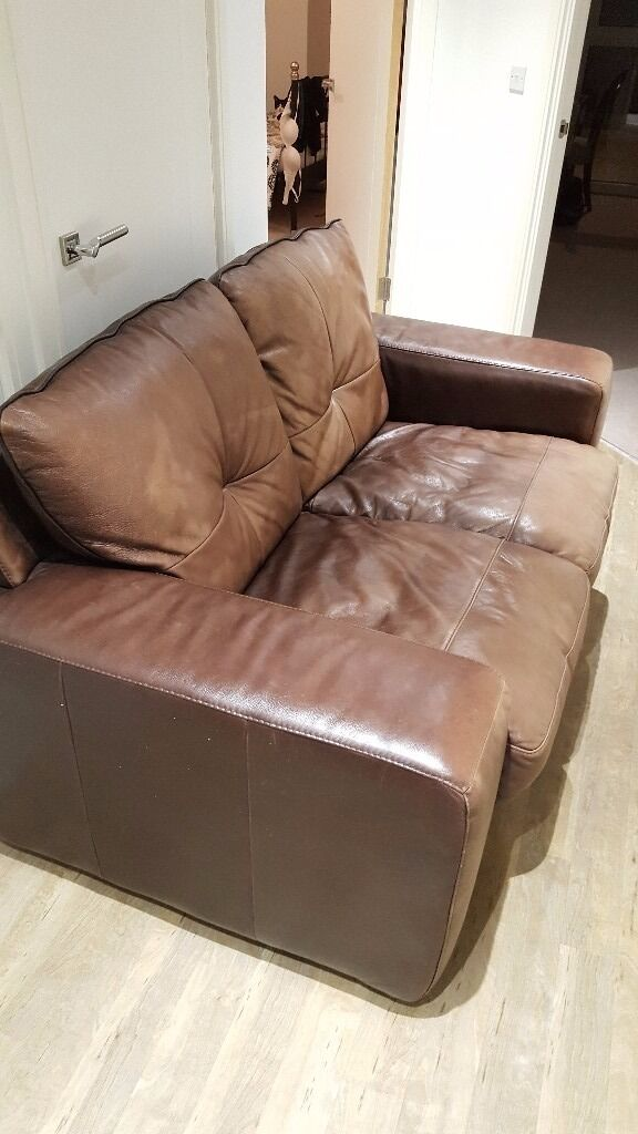 Comfy two seat leather sofa