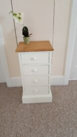 Solid pine narrow 4 drawer/bedside table (no ply)