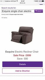 Dark coloured electric recliner
