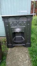 Old cast iron fire place excellent condition restored size 35x42 quick sale original black