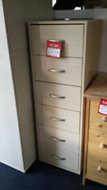 Ready assembled tall 6 drawer chest with metal runners