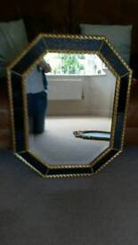 Stunning attractive Royal blue and gold stylish good quality bevelled mirror