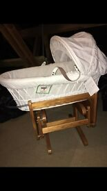 White wicker Moses basket and stand