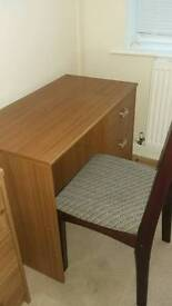 wooden disck with 3 drawers