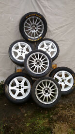 Various FWD Vauxhall rallycross wheels and tyres.