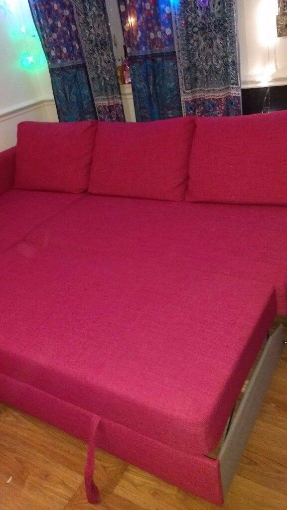 ikea friheten sofa bed pink