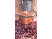 Copper laundry boiler victorian era on wrought iron stand