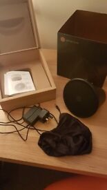 Aether Cone Bluetooth Speakers In Box with charging cable and case