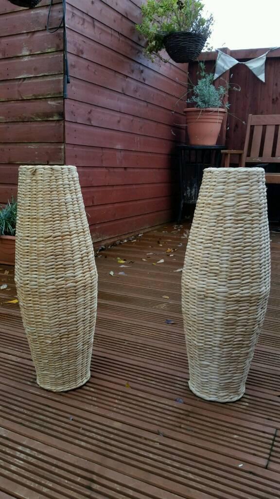 2 x large Wicker floor vase
