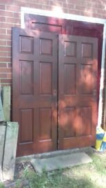 1no used solid mahogany 6 panelled doors ex 6.2ft x2.6ft £20 each