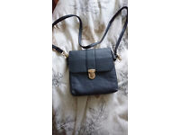 Ladies Dark Blue Over The Shoulder HandBag With Metal Clasp Detail