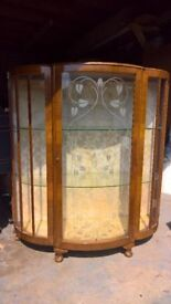 Vintage, wood and glass curved cabinet