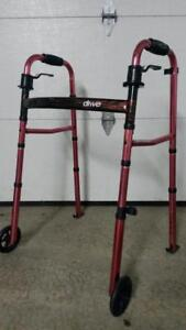 Everyday Deluxe Drive Medical  Two Wheeled Walker with 5 Wheels, Dual Release, Pink  lightweight  aluminum tubing