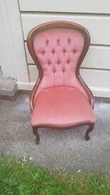 Pink cushioned chair
