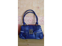 Ladies Blue Crocodile Pattern With Metal Front Clasp Hand Bag