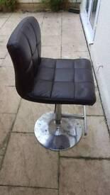 Brown leatherette bar stool height adjustable