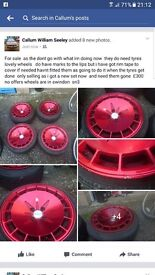 Kiutch alloy wheels 4x100 15in et17 red wheels cheap