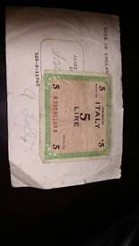 Italy military 5 lire 1943