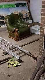 Leather armchair with soild wood frame
