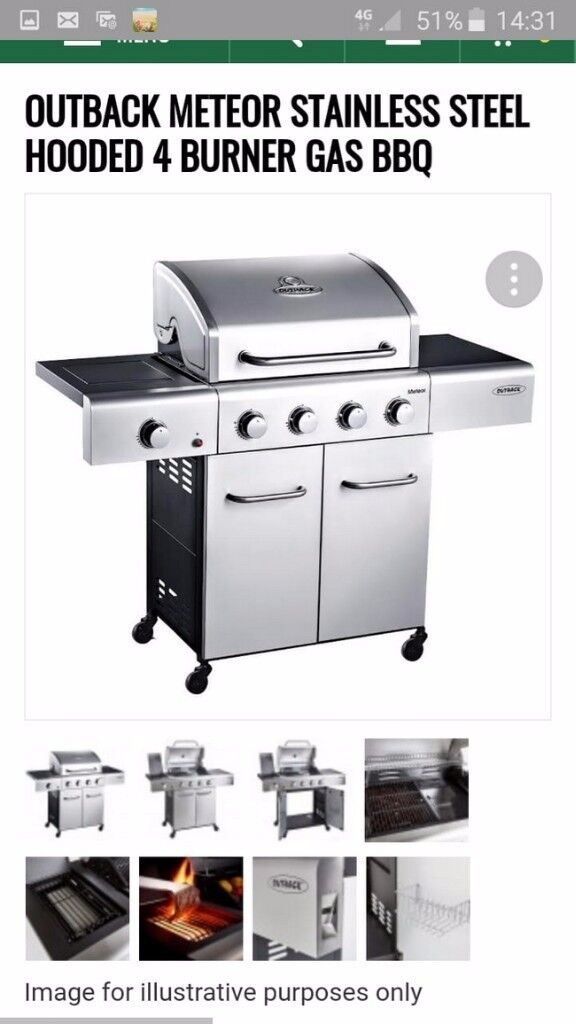 Outback Meteor Stainless Steel Hooded 4 Burner Gas Bbq