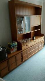 Solid display cabnet with sideboard