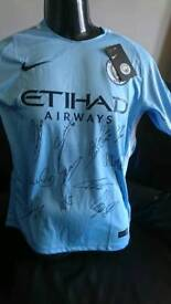 2018 PLC Manchester City sqaud Signed shirt with Coa