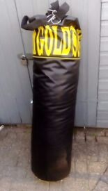 Golds Gym 4 Foot Punch Bag and Heavy Boxing Gloves