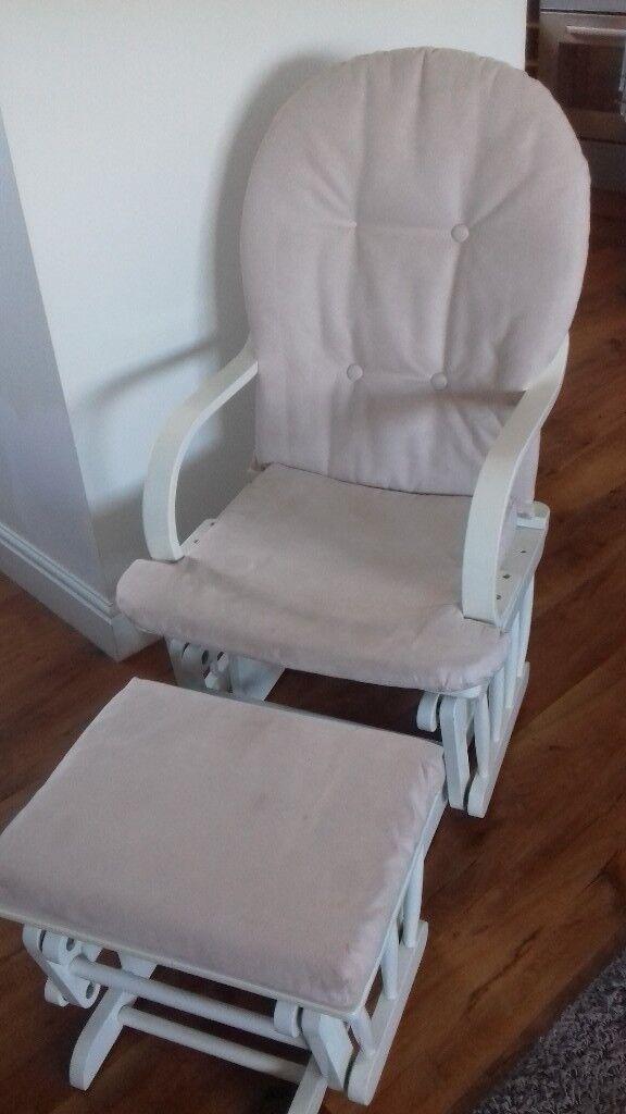 Gliding nursery chair & matching foot stall