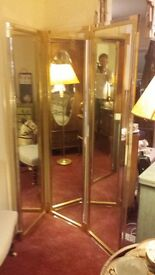 Three section double sided mirror room divider with brass frames