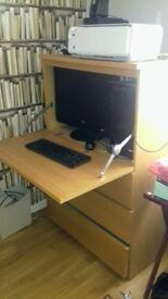 Computer desk drop down cabinet wiht 3 draws ingood condion