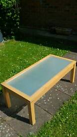Pine coffee table with frosted glass top